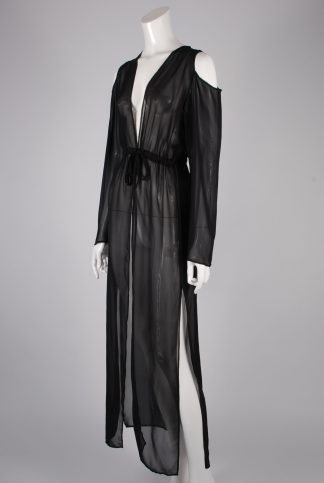 Boohoo Black Sheer Kimono Jacket - Size S/M - Side