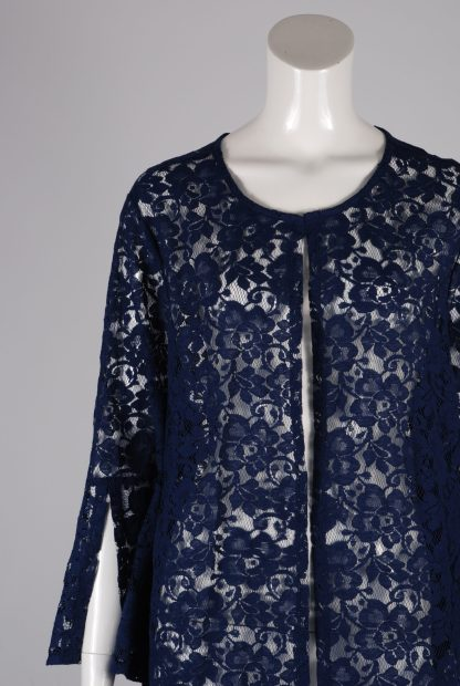 Blue Lace Peplum Sleeve Jacket - Size 22 - Front Detail