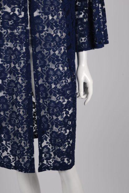 Blue Lace Peplum Sleeve Jacket - Size 22 - Front Hem