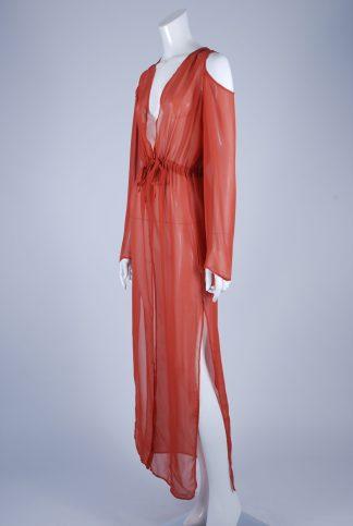 Boohoo Orange Sheer Kimono Jacket - Size S/M - Side
