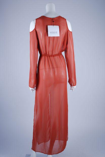 Boohoo Orange Sheer Kimono Jacket - Size S/M - Back