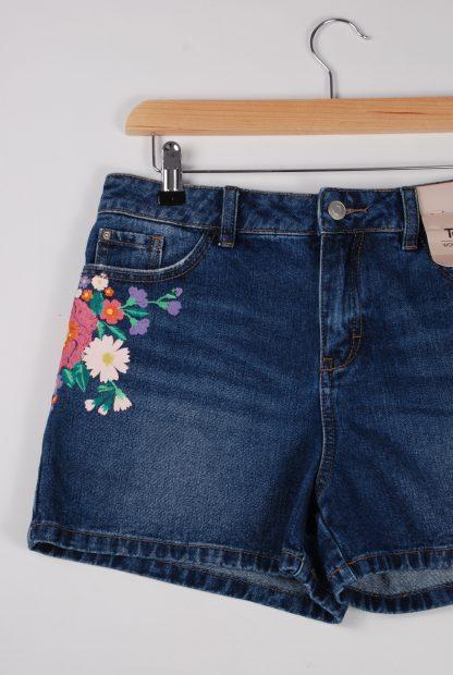 TU Floral Painted Denim Shorts - Size 8 - Front Detail