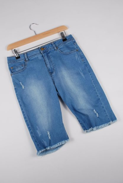 London Crew Blue Denim Raw Hem Shorts - Size S - Front