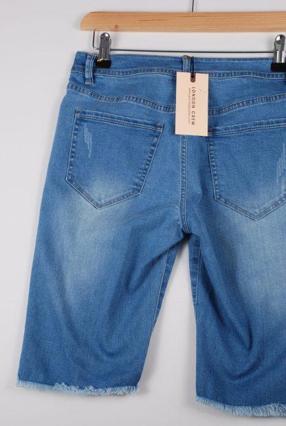 London Crew Blue Denim Raw Hem Shorts - Size S - Back Detail