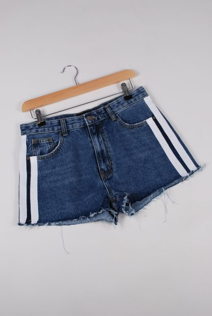Monokrom Denim Striped Shorts - Size 10 - Front