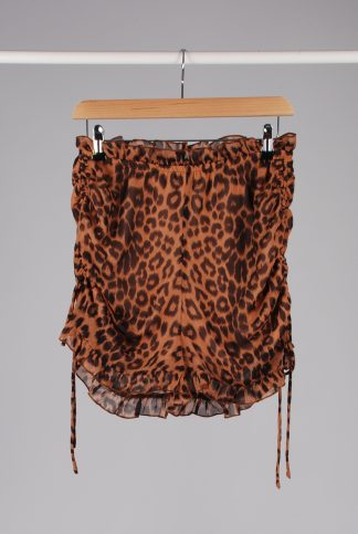 Boohoo Animal Print Ruched Shorts -Size 10 - Front