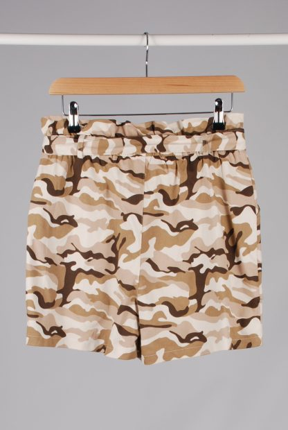 Missguided Pink & Brown Camo Print Shorts - Size 10 - Back