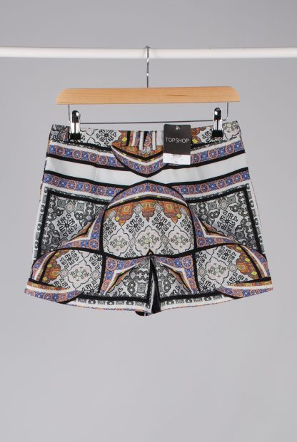 Topshop Abstract Pattern Shorts - Size 10 - Back