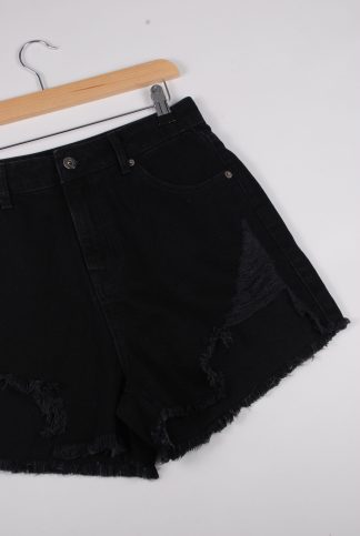 Boohoo Black Denim Cut Out Shorts - Size 10 - Front Detail