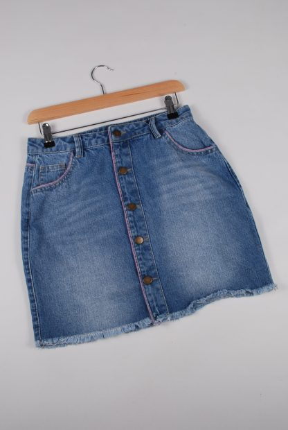 Boohoo Button Front Denim Skirt - Size 10 - Front
