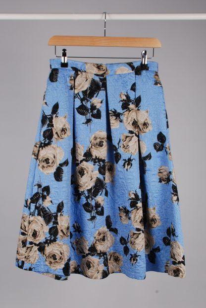 Topshop Blue Floral Jacquard Midi Skirt - Size 10 - Front