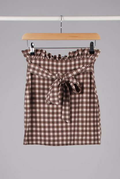 Boohoo Brown Check Mini Skirt - Size 10 - Front