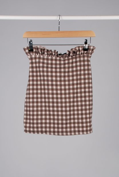 Boohoo Brown Check Mini Skirt - Size 10 - Back