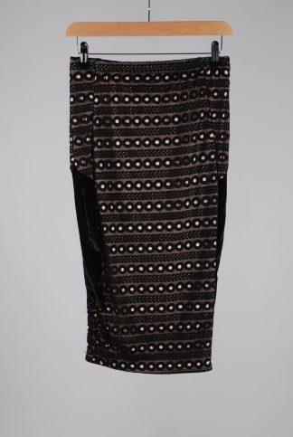 Boohoo Black Mesh Panel Pencil Skirt - Size 10 - Front