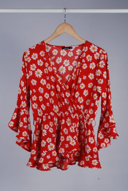 Boohoo Red Floral Wrap Top - Size 10 - Front