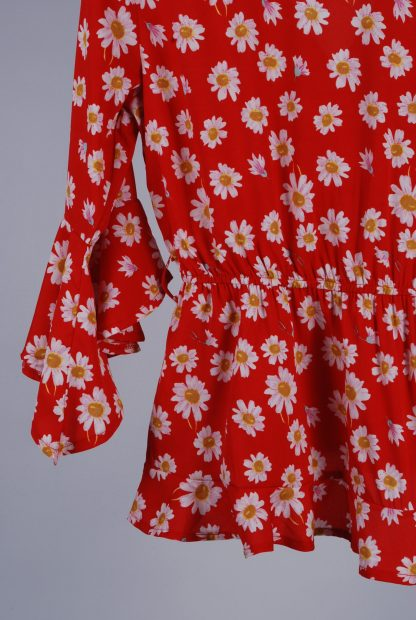 Boohoo Red Floral Wrap Top - Size 10 - Back Detail