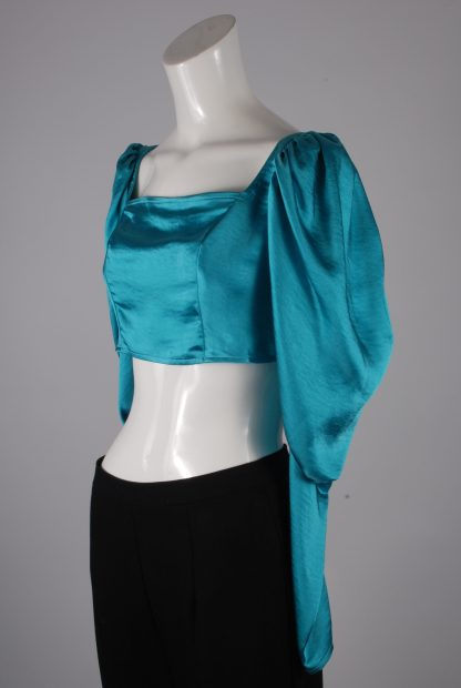 Turquoise Satin Crop Top - Size 10 - Side