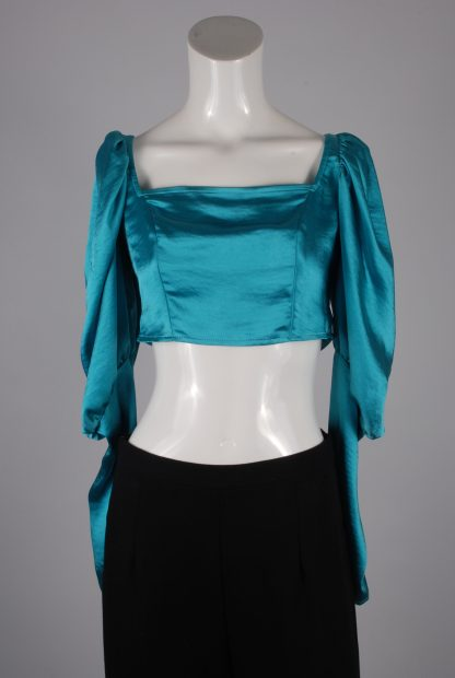 Turquoise Satin Crop Top - Size 10 - Front
