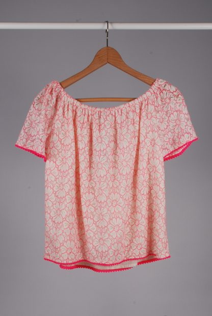 TU White & Pink Lace Top - Size 8 - Back