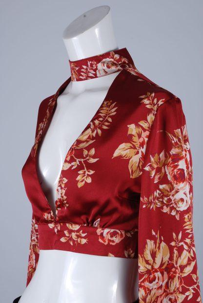 MissPap Floral Satin Crop Top - Size 8 - Side Detail