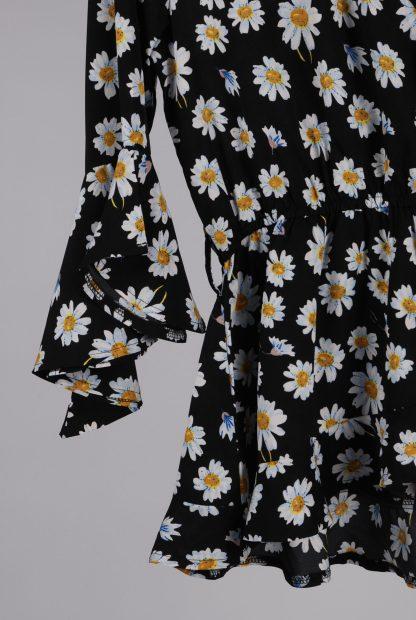 Boohoo Black Floral Wrap Top - Size 10 - Front Hem