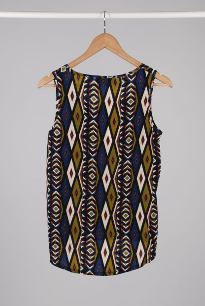 Diffuse Geometric Pattern Cami Top - Size 10 - Back
