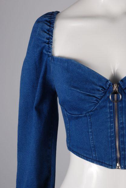 Blue Denim Look Crop Top - Size M - Front Detail
