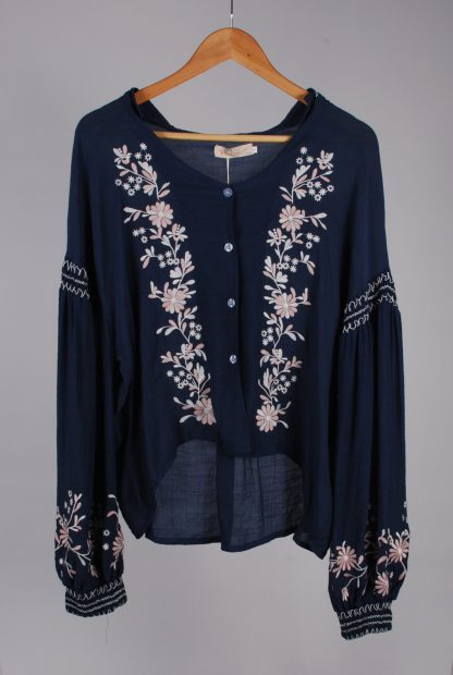 Misskoo Blue Floral Embroidered Blouse - Size S - Front