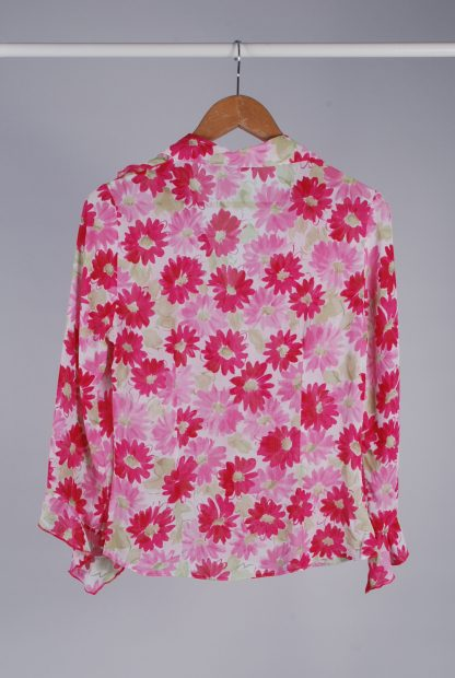 Per Una Pink & Green Floral Blouse - Size 8 - Back
