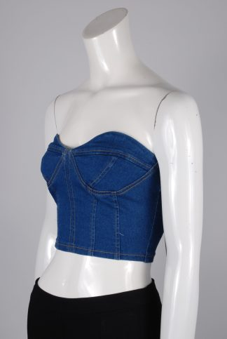 Mystery Jane Denim Look Crop Top - Size 8 - Side