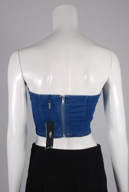 Mystery Jane Denim Look Crop Top - Size 8 - Back