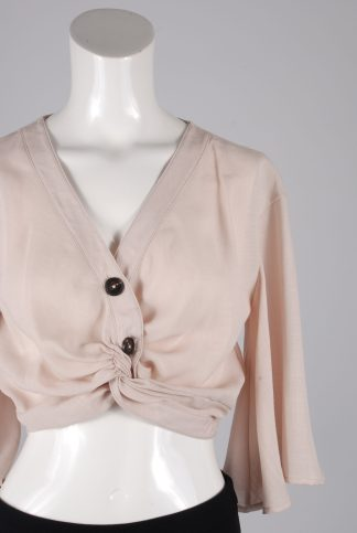 Nasty Gal Pink Flowy Crop Top - Size 10 - Front Detail