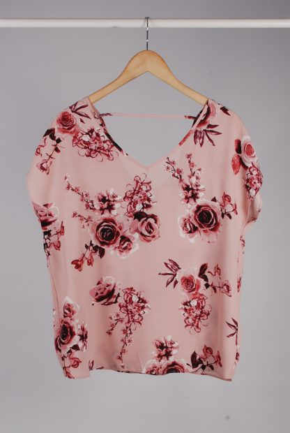 Pink Rose Pattern Top - Size 10 - Front