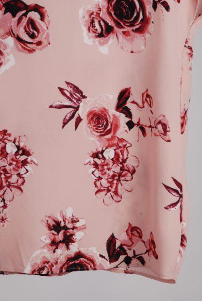 Pink Rose Pattern Top - Size 10 - Hem