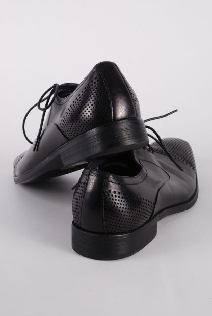 Gucinari Black Leather Lace Up Shoes - Size 8 - Back
