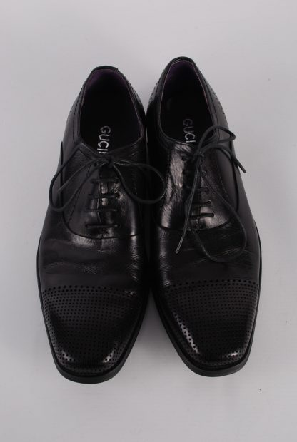 Gucinari Black Leather Lace Up Shoes - Size 8 - Top