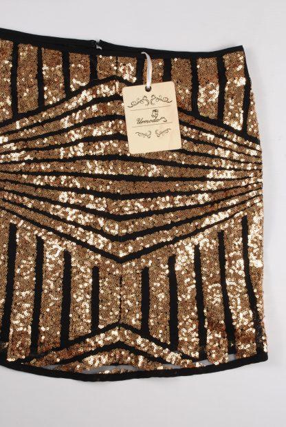 Urmoda Gold Sequin Co-Ord - Size M - Skirt Detail