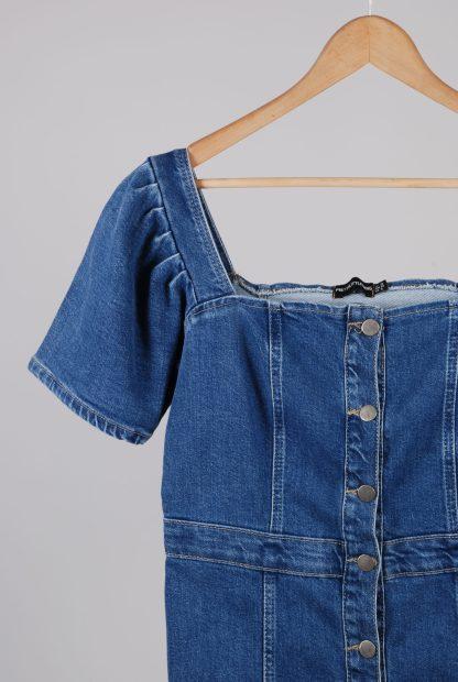 Pretty Little Thing Blue Denim Mini Dress - Size 10 - Front Detail