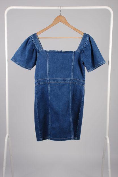 Pretty Little Thing Blue Denim Mini Dress - Size 10 - Back