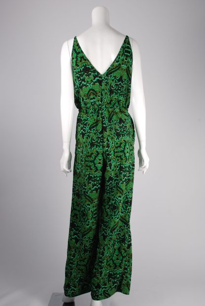 H&M Conscious Green Patterned Jumpsuit - Size 12 - Back