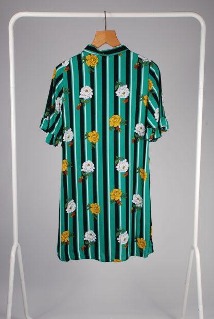 Papaya Floral & Striped Shirt Dress - Size 12 - Back