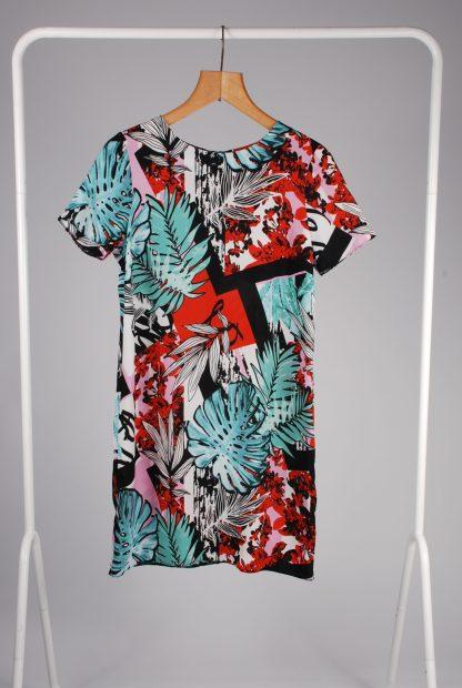 Lipsy Leaf Pattern Shift Dress - Size 10 - Front