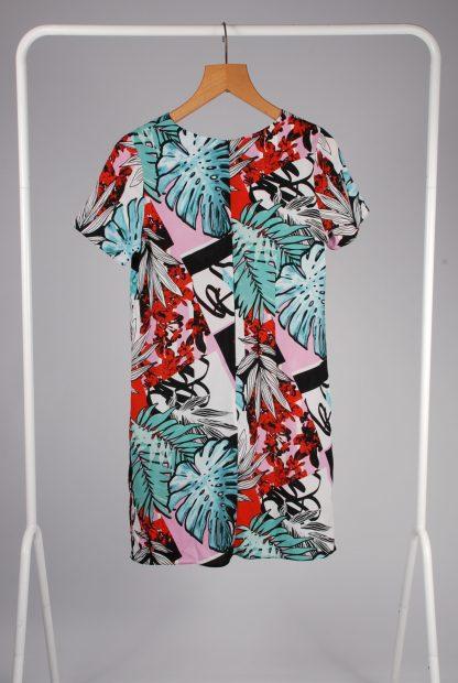 Lipsy Leaf Pattern Shift Dress - Size 10 - Back
