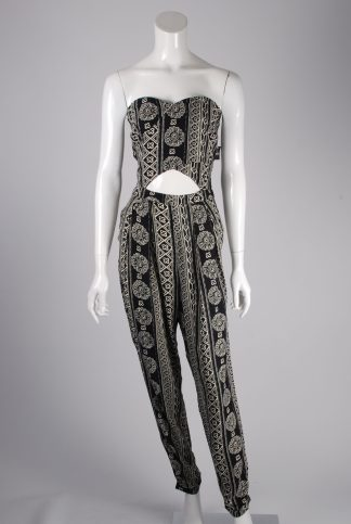 Hollister Abstract Pattern Strapless Jumpsuit - Size M - Front