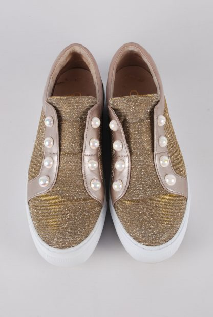 Gabor Gold Tone Shimmering Trainers - Size 5 - Top