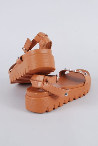 Boohoo Brown Studded Chunky Sandals - Size 4 - Back
