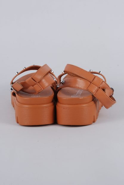 Boohoo Brown Studded Chunky Sandals - Size 4 - Back Detail