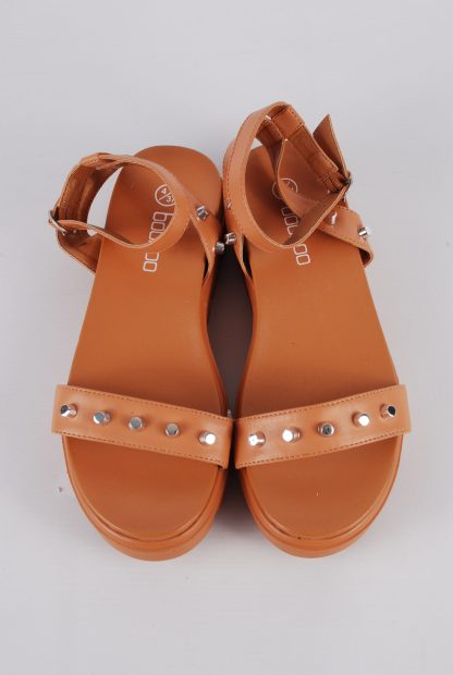 Boohoo Brown Studded Chunky Sandals - Size 4 - Top