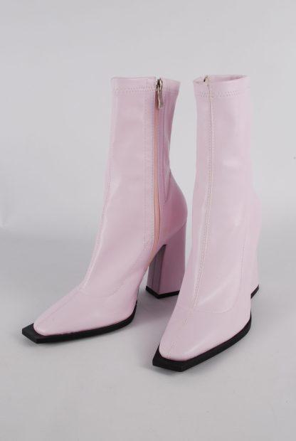 Nasty Gal Pink Block Heel Sock Boots - Size 5 - Front