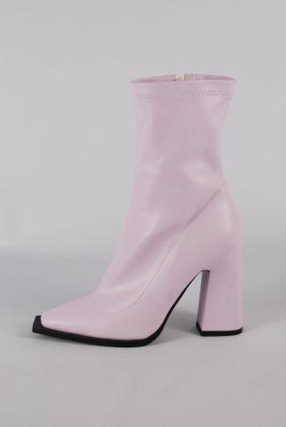 Nasty Gal Pink Block Heel Sock Boots - Size 5 - Side